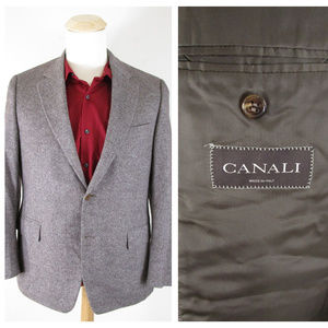 Canali Brown Gray Wool Angora Cashmere Sport Coat